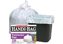 Webster Handi-Bag® Trash Bags Super Value Pack, White, 8 gallon, 130 Bags/Box