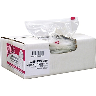 Webster Handi-Bag® Quart Slider Storage Bags, Clear, 7in. x 8in., 1.75 Mil, 250/Box