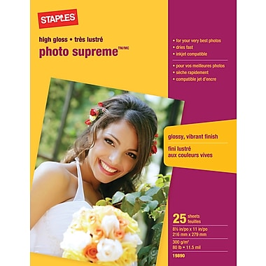 Staples® - Papier photo Supreme, lustré, 8 1/2 po x 11 po, paq./25