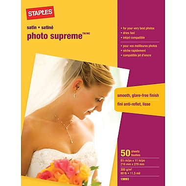 Staples® - Papier photo Supreme, satiné, 8 1/2 po x 11 po, paq./50