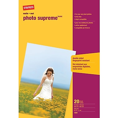 Staples® Photo Supreme Paper, 13in. x 19in. Matte, 20/Pack