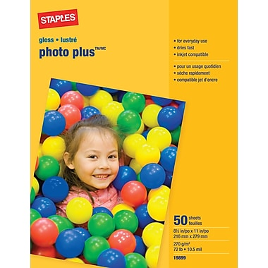 Staples® Photo Plus Paper, 8 1/2in. x 11in., Gloss, 50/Pack