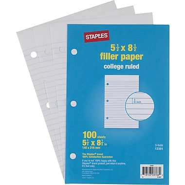 Staples® College Ruled Filler Paper, 5 1/2in. x 8 1/2in.