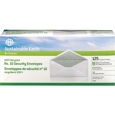 Sustainable Earth by Staples  #10 100% Recycled Business Envelopes, 125/Box