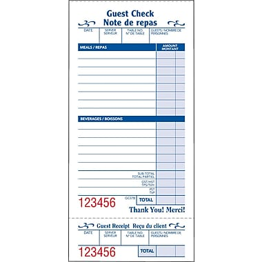 Staples® Restaurant Guest Check Pad, 100/Sheets, Bilingual