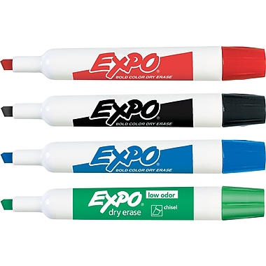 Expo® Chisel Tip Dry-Erase Markers, Assorted, 4/Pack