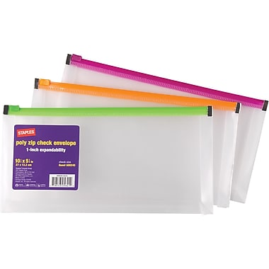 Staples® 1in. Poly Zip Envelopes, Check Size, Each
