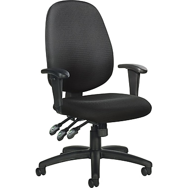 Global® Multi-Function Fabric Ergonomic Mid-Back Task Chair , Black