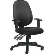Global Mid-Back Multi-Function Ergonomic Fabric Task Chair, Adjustable Arms, Black