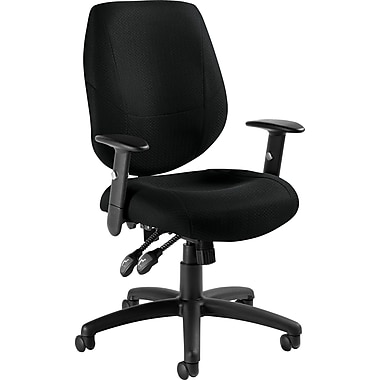 Global® Adjustable Mid back Ergonomic Fabric Task Chair , Black