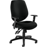 Global Mid-Back Ergonomic Fabric Task Chair, Adjustable Arms, Black