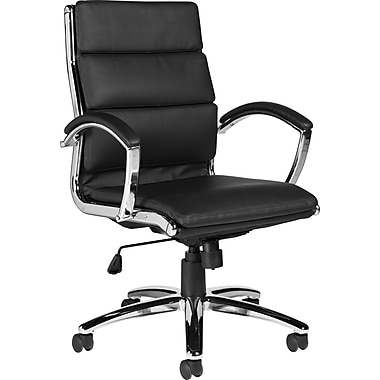 Global High-Back Bonded Leather Manager's Chair, Fixed Arm, Black