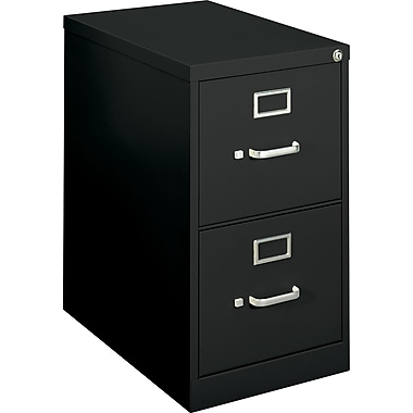 basyx™ Vertical File, 22in. 2-Drawer, Letter Size,  Black