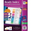 Avery® 15-Tab Ready Index® Multicolor Table of Contents Dividers, 6 Sets/Pack