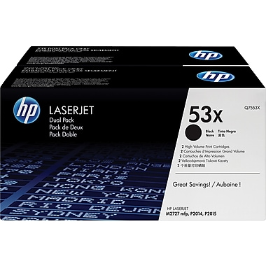 HP 53X Black Toner Cartridges (Q7553XD), High Yield, Twin Pack