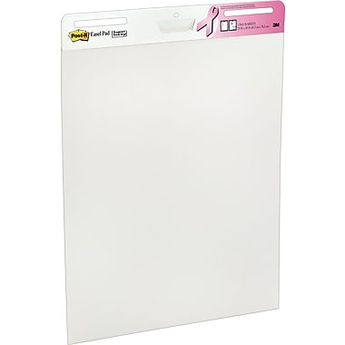 Post-it® Easel Pad, 25in. x 30in., Breast Cancer Awareness Ribbon, White, 2/Case