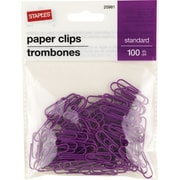 Staples® #1 Size Vinyl-Coated Paper Clips, Purple, 100/Pack
