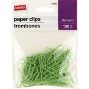 Staples® #1 Size Vinyl-Coated Paper Clips, Green, 100/Pack
