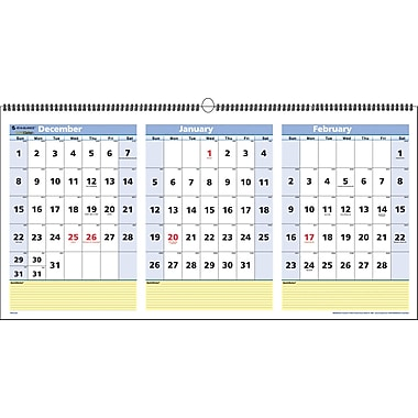 2014 AT-A-GLANCE® 3-Month View Wall Calendar, 23 1/2in. x 12in.