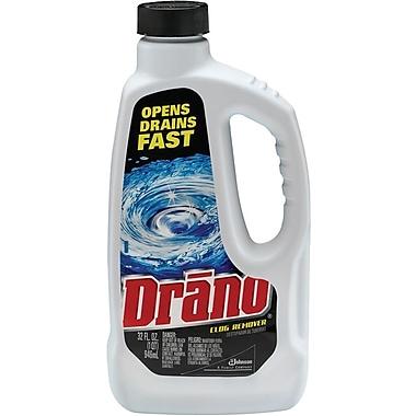 Drano Liquid Drain Cleaner, 32 oz Safety Cap Bottle, 12/Carton