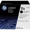 HP 11X Black Toner Cartridges (Q6511XD), High Yield, Twin Pack