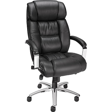 staples stanmore top grain leather high back executive chair black