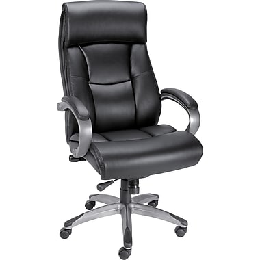 Staples® Herrick™ Bonded Leather Executive High-Back Chair, Black