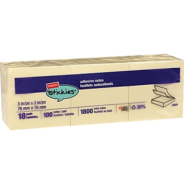 Staples® 3in.x3in. Recycled Yellow Notes, 18 Pads/Pack