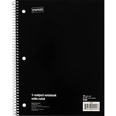 Staples 1 Subject Notebook, 8in. x 10-1/2in., 6/Pack