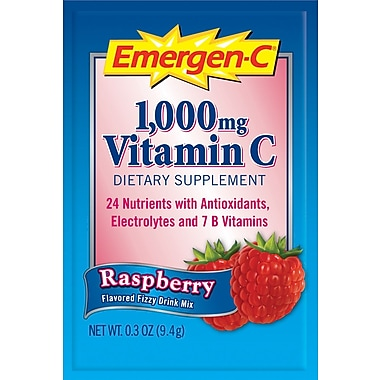 Emergen-C Vitamin C Drink Mix, Raspberry, 0.3 oz., 50 Packets/Box