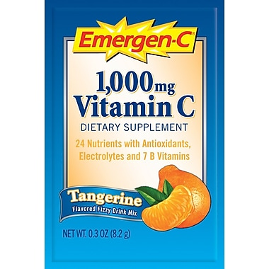 Emergen-C Vitamin C Drink Mix, Tangerine, 0.3 oz., 50 Packets/Box
