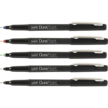 Staples® DuraPoint™ Extra Fine Tipe Pens 0.5mm, Assorted, 5/Pack