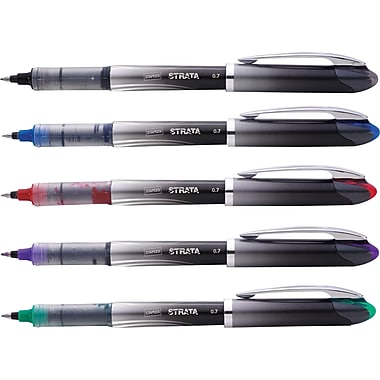 Staples® Strata™ Liquid Rollerball Pens, Fine Point, Assorted, 5/Pack