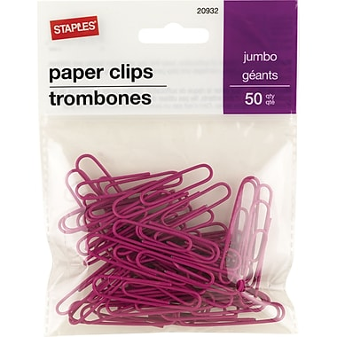 Staples® Jumbo Vinyl-Coated Paper Clips, Pink, 50/Pack