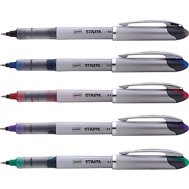 Staples® Strata™ Liquid Rollerball Pens, Extra-Fine Point, Assorted, 5/Pack