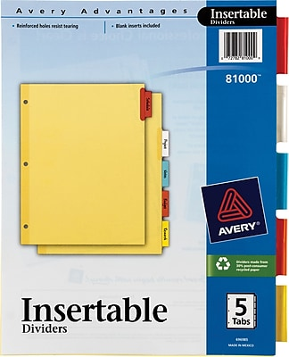 Avery Insertable Multicolored 5 Tab Dividers