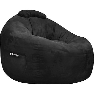 Elite Omega Faux Suede Bean Bag Lounger Chair, Black