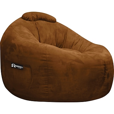 Elite Omega Faux Suede Bean Bag Lounger Chair, Chocolate