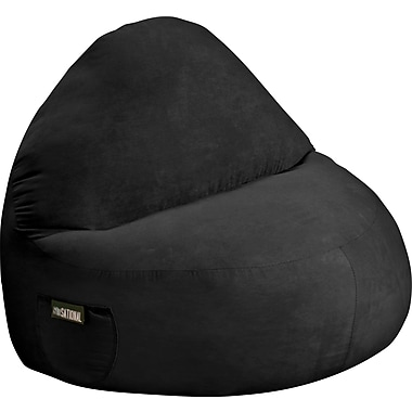 Elite Sitsational Faux Suede 2 Seater Bean Bag Lounger Chair, Black