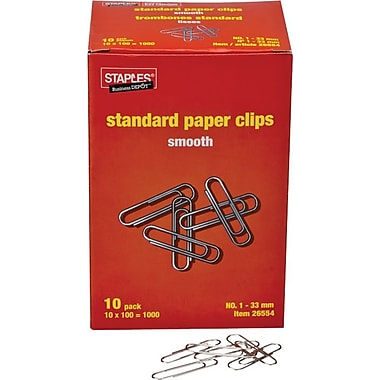Staples® # Size Paper Clips, Smooth, 10 x 100/Pack