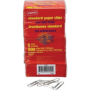 Staples® #1 Size Paper Clips, Non-skid, 5 x 100/Pack