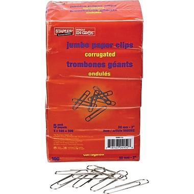 Staples® Jumbo Paper Clips, Non-skid Finish, 5 x 100/Pack