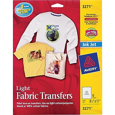 Avery® 3271 Inkjet Light Fabric Transfer Paper, 8-1/2in. x 11in., 6/Pack