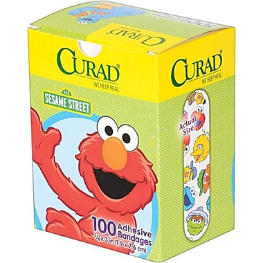 Curad®Kids Adhesive Bandages, Sesame Street, 3/4in. x 3in., 100 Bandages/Box