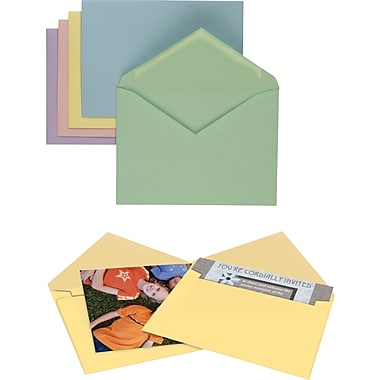 Staples Gummed Assorted Pastels Specialty Envelopes,  50/Box