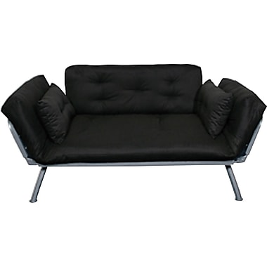 Elite Mali Flex Futon Combination Sofa/Lounger/Sleeper, Silver and Black