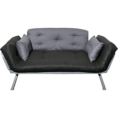 Elite Mali Flex Futon Combination Sofa/Lounger/Sleeper, Silver and Pewter/ Coal