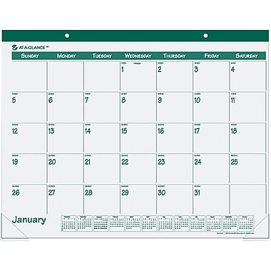 "2014 AT-A-GLANCE® Fashion Desk Pad, 22"" x 17"", Green"