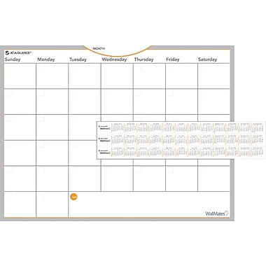 AT-A-GLANCE® WallMates™ Self-Adhesive Dry-Erase Monthly Planning Surface, 24