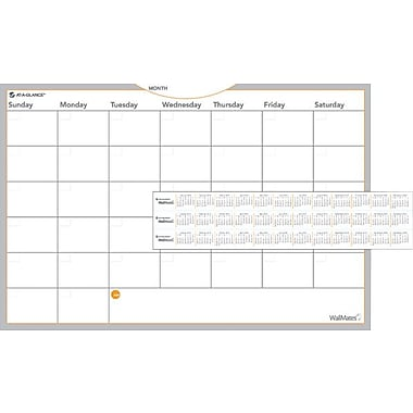 AT-A-GLANCE WallMates Self-Adhesive Dry-Erase Monthly Planning Surface, 36